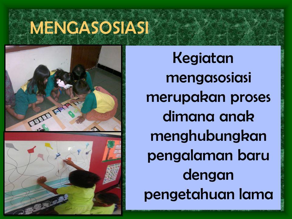 MENGASOSIASI Kegiatan mengasosiasi merupakan proses dimana anak menghubungkan pengalaman baru dengan pengetahuan lama