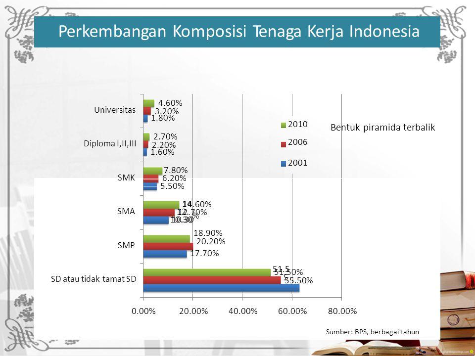 UniversitasUniversitas 1.80% 2010 2006 Diploma I,II,III 1.60% 2001 SMK Bentuk piramida terbalik 14.60% 12.70% 10.30 SMA SMP 17.70% 51.50% 55.50% SD atau tidak tamat SD 0.00%20.00%40.00%60.00%80.00% Sumber: BPS, berbagai tahun 4.60% 3.20% 2.70% 2.20% 7.80% 6.20% 5.50% 14 12.