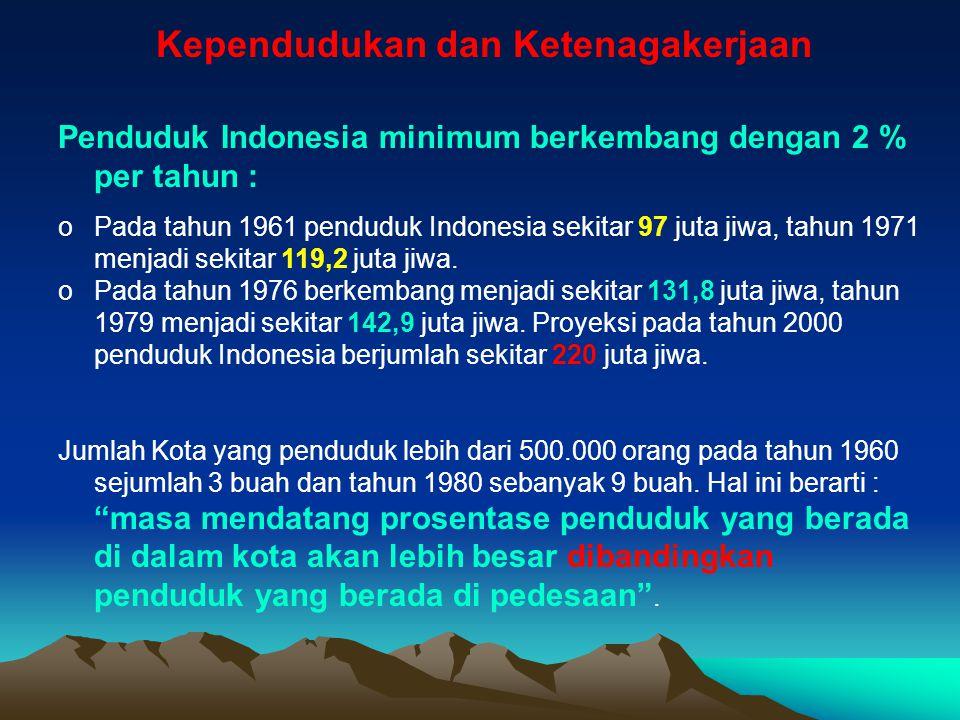 Kependudukan dan Ketenagakerjaan Penduduk Indonesia minimum berkembang dengan 2 % per tahun : oPada tahun 1961 penduduk Indonesia sekitar 97 juta jiwa