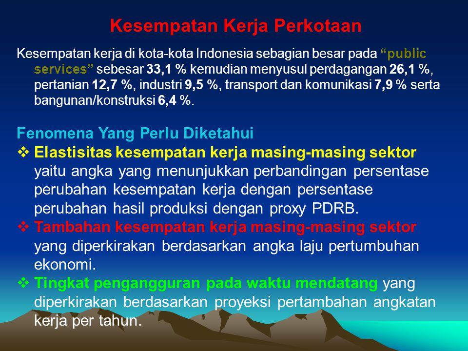 """Kesempatan Kerja Perkotaan Kesempatan kerja di kota-kota Indonesia sebagian besar pada """"public services"""" sebesar 33,1 % kemudian menyusul perdagangan"""