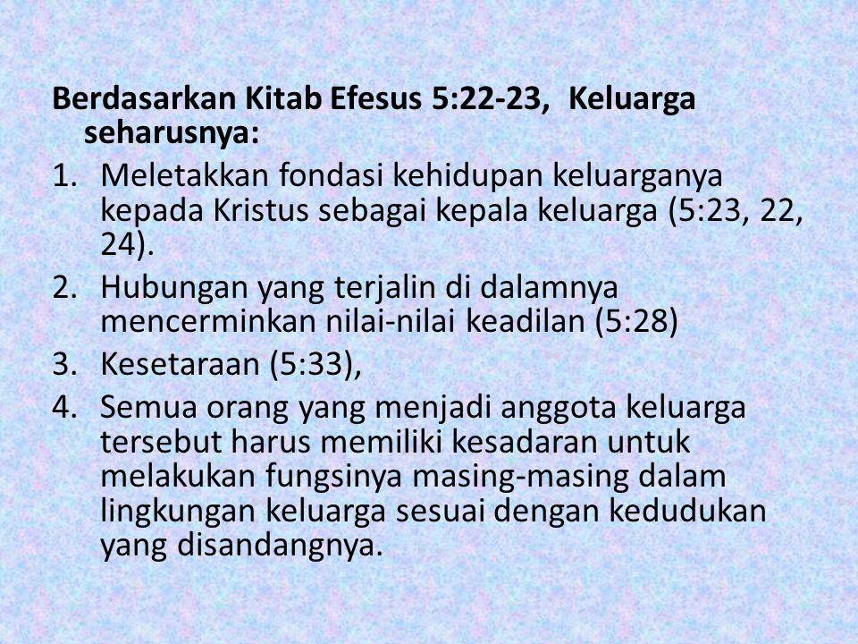 Berdasarkan Kitab Efesus 5:22-23, Keluarga seharusnya: 1.Meletakkan fondasi kehidupan keluarganya kepada Kristus sebagai kepala keluarga (5:23, 22, 24).