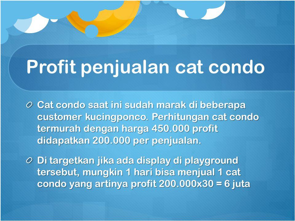 Profit penjualan cat condo Cat condo saat ini sudah marak di beberapa customer kucingponco. Perhitungan cat condo termurah dengan harga 450.000 profit