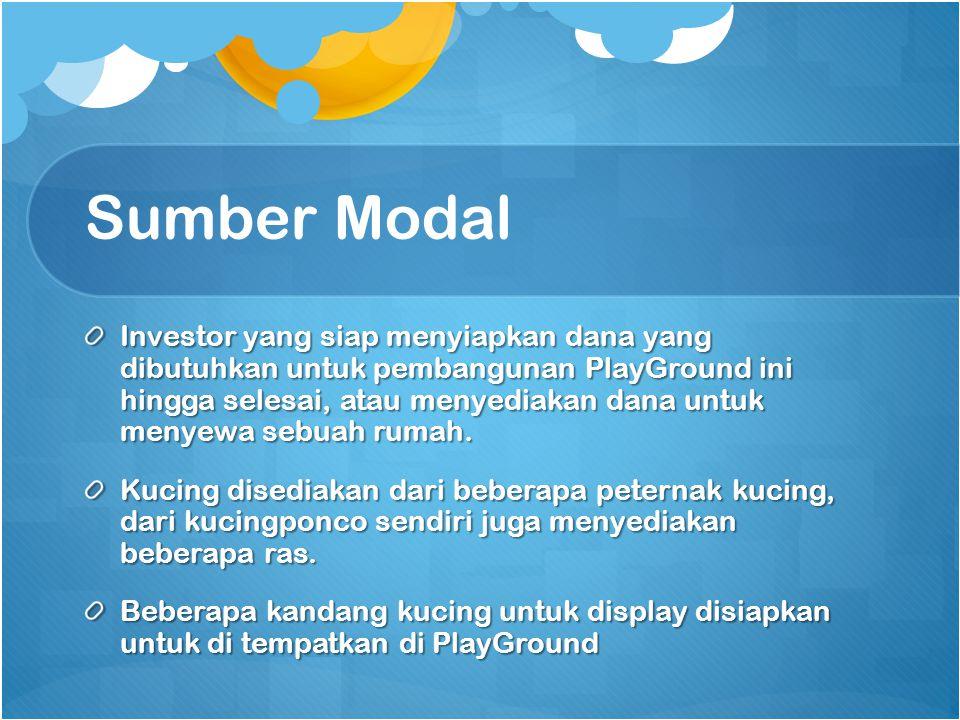 Sumber Modal Investor yang siap menyiapkan dana yang dibutuhkan untuk pembangunan PlayGround ini hingga selesai, atau menyediakan dana untuk menyewa s
