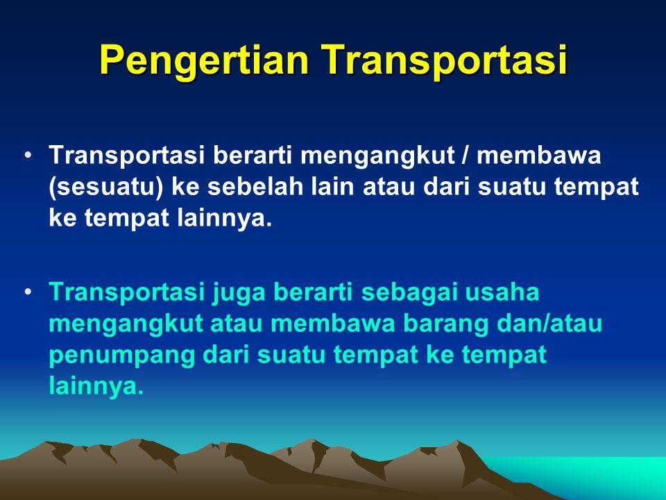 Pengertian Transportasi Transportasi berarti mengangkut / membawa (sesuatu) ke sebelah lain atau dari suatu tempat ke tempat lainnya.