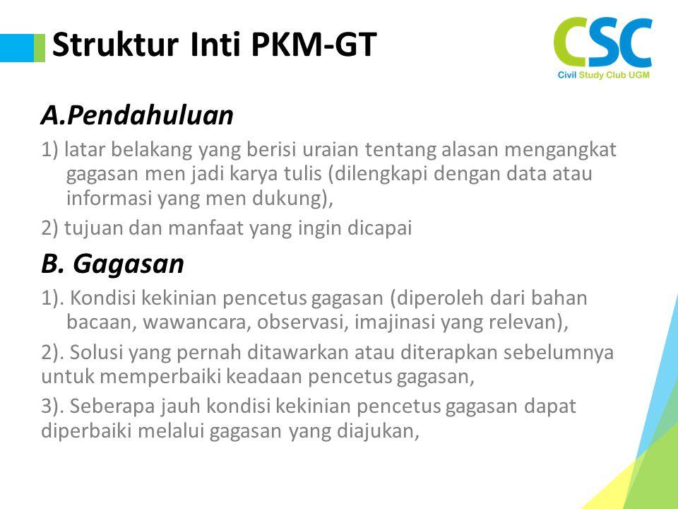 Struktur Inti PKM-GT A.Pendahuluan 1) latar belakang yang berisi uraian tentang alasan mengangkat gagasan men jadi karya tulis (dilengkapi dengan data atau informasi yang men dukung), 2) tujuan dan manfaat yang ingin dicapai B.