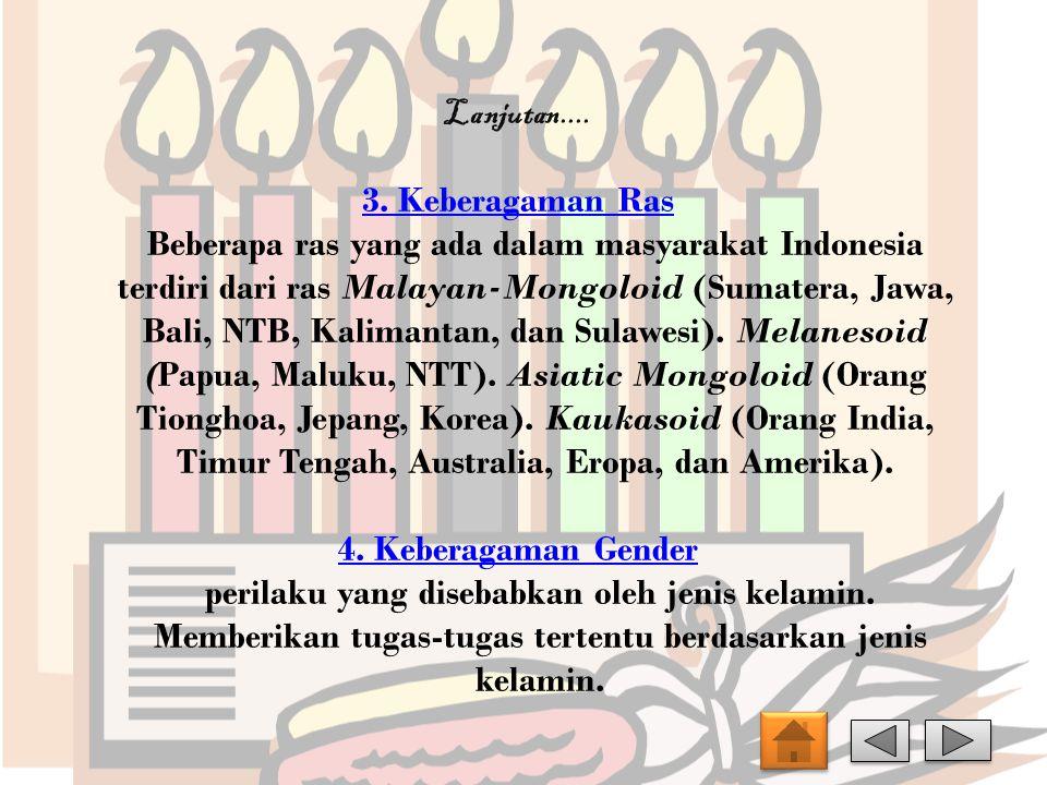 Lanjutan.... 3. Keberagaman Ras Beberapa ras yang ada dalam masyarakat Indonesia terdiri dari ras Malayan-Mongoloid (Sumatera, Jawa, Bali, NTB, Kalima