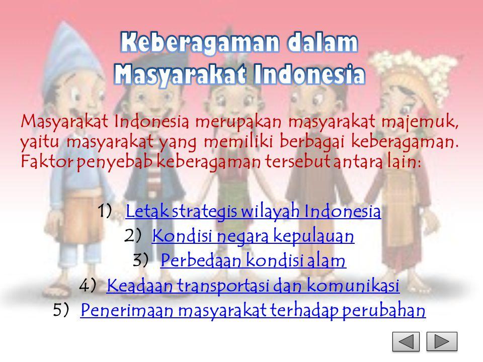 Masyarakat Indonesia merupakan masyarakat majemuk, yaitu masyarakat yang memiliki berbagai keberagaman. Faktor penyebab keberagaman tersebut antara la