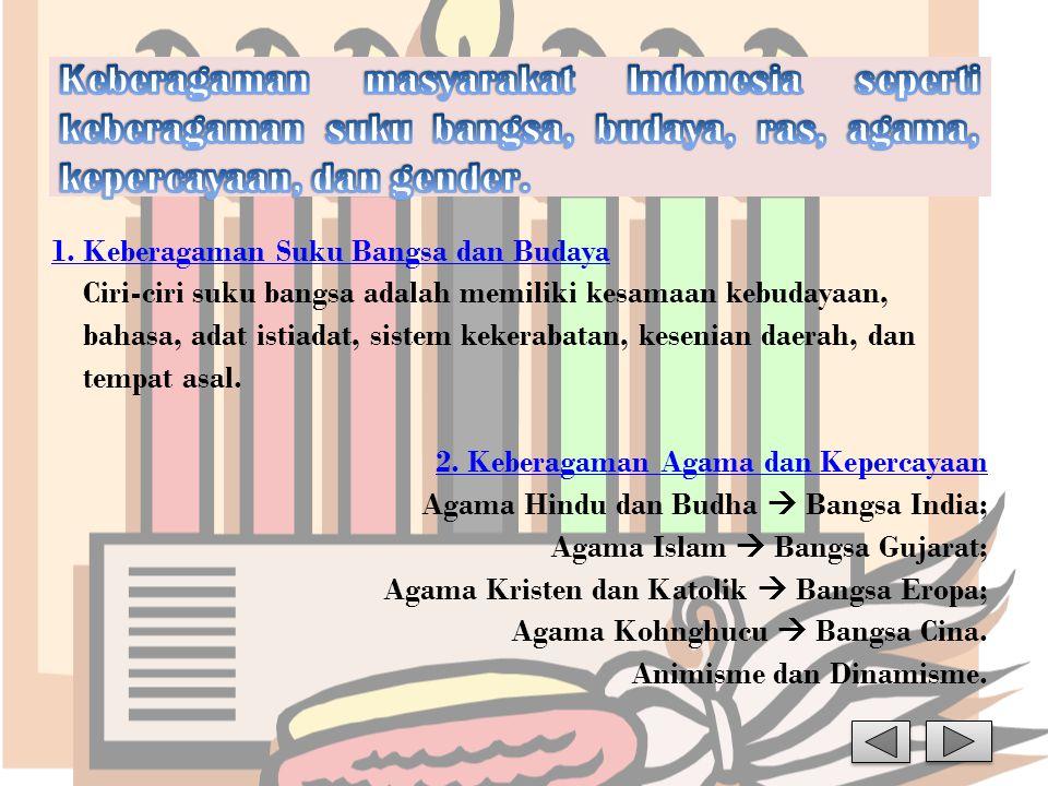 1. Keberagaman Suku Bangsa dan Budaya Ciri-ciri suku bangsa adalah memiliki kesamaan kebudayaan, bahasa, adat istiadat, sistem kekerabatan, kesenian d