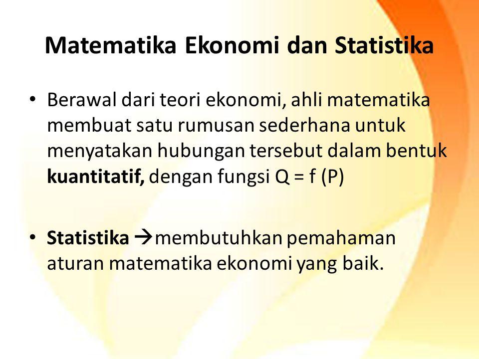 Matematika Ekonomi dan Statistika Berawal dari teori ekonomi, ahli matematika membuat satu rumusan sederhana untuk menyatakan hubungan tersebut dalam