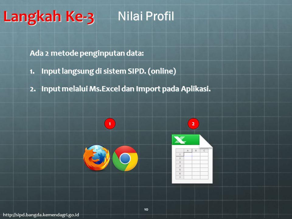 Ada 2 metode penginputan data: 1.Input langsung di sistem SIPD. (online) 2.Input melalui Ms.Excel dan Import pada Aplikasi. 2 2 1 1 Langkah Ke-3 Nilai