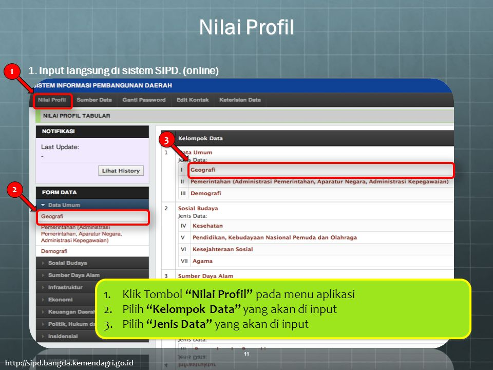 "1 1 2 2 3 3 Nilai Profil http://sipd.bangda.kemendagri.go.id 1.Klik Tombol ""Nilai Profil"" pada menu aplikasi 2.Pilih ""Kelompok Data"" yang akan di inpu"