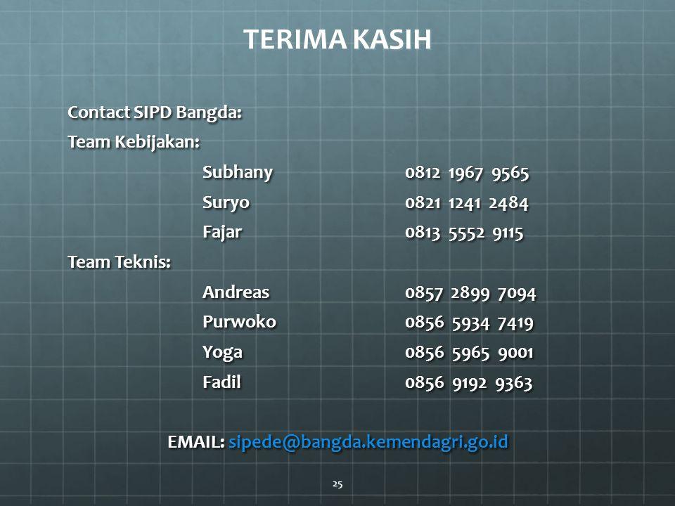 KASIH TERIMA KASIH Contact SIPD Bangda: Team Kebijakan: Subhany0812 1967 9565 Suryo 0821 1241 2484 Fajar0813 5552 9115 Team Teknis: Andreas0857 2899 7