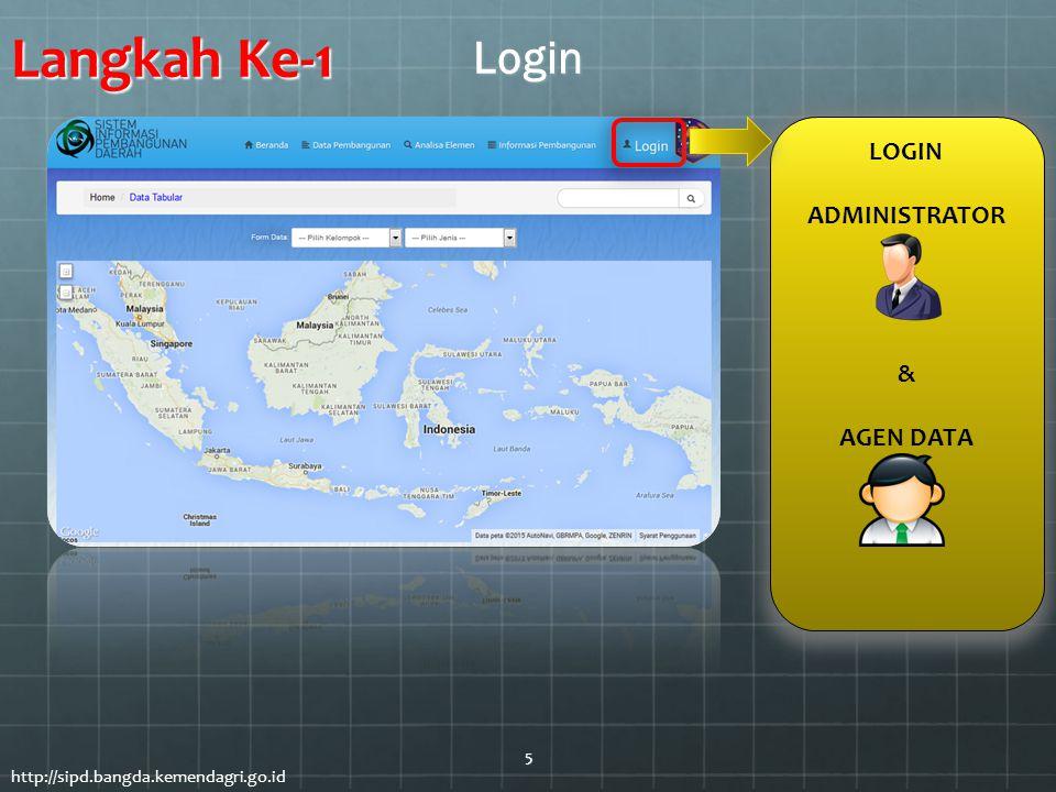 LOGIN ADMINISTRATOR & AGEN DATA Login http://sipd.bangda.kemendagri.go.id Langkah Ke-1 5