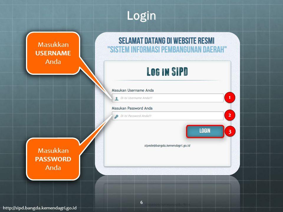 Login Masukkan USERNAME Anda Masukkan PASSWORD Anda http://sipd.bangda.kemendagri.go.id 1 1 2 2 3 3 6