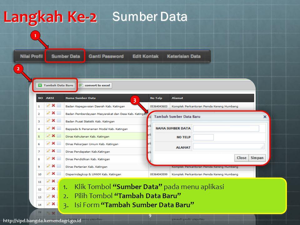 "Langkah Ke-2 1.Klik Tombol ""Sumber Data"" pada menu aplikasi 2.Pilih Tombol ""Tambah Data Baru"" 3.Isi Form ""Tambah Sumber Data Baru"" 1.Klik Tombol ""Sumb"
