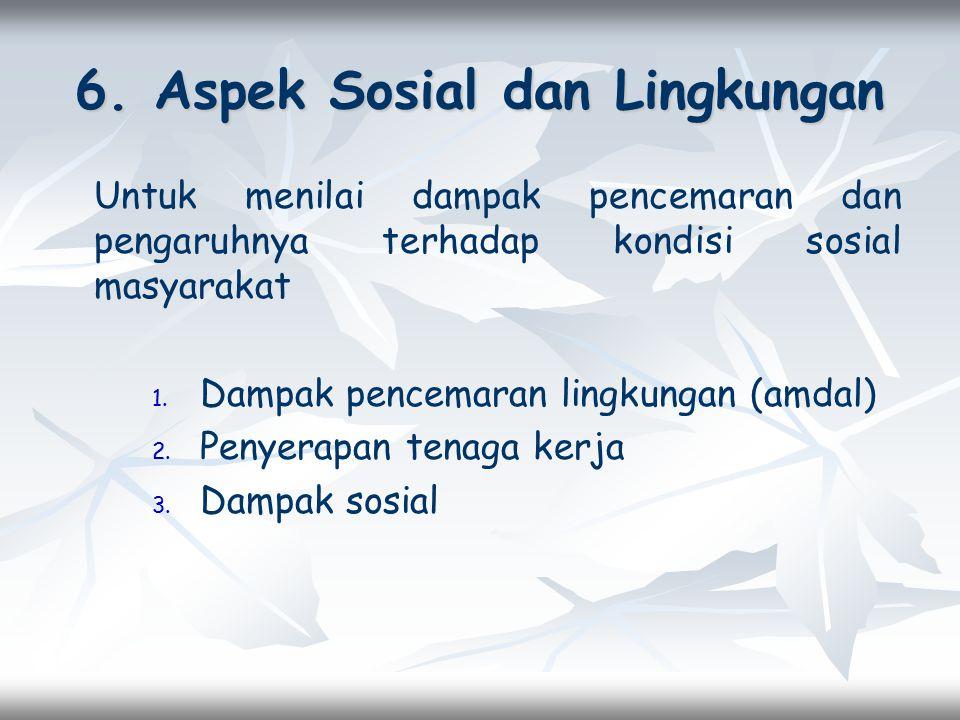 6. Aspek Sosial dan Lingkungan Untuk menilai dampak pencemaran dan pengaruhnya terhadap kondisi sosial masyarakat 1. 1. Dampak pencemaran lingkungan (