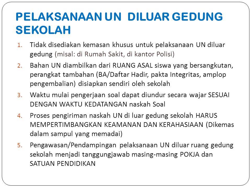PELAKSANAAN UN DILUAR GEDUNG SEKOLAH 1. Tidak disediakan kemasan khusus untuk pelaksanaan UN diluar gedung (misal: di Rumah Sakit, di kantor Polisi) 2