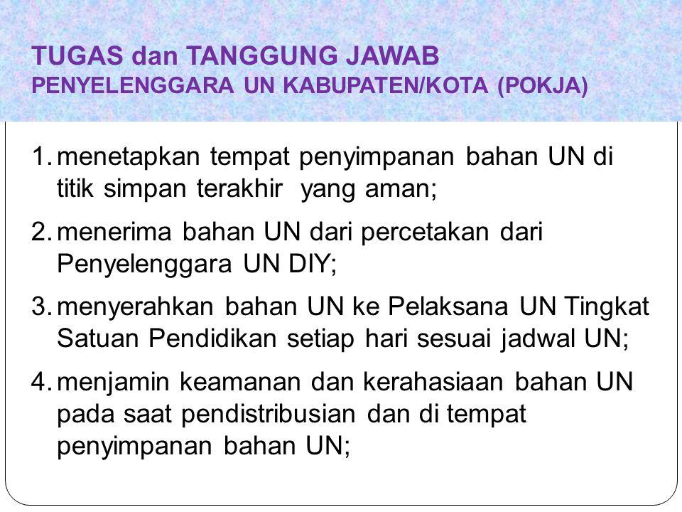 TUGAS dan TANGGUNG JAWAB PENYELENGGARA UN KABUPATEN/KOTA (POKJA) 1.menetapkan tempat penyimpanan bahan UN di titik simpan terakhir yang aman; 2.meneri