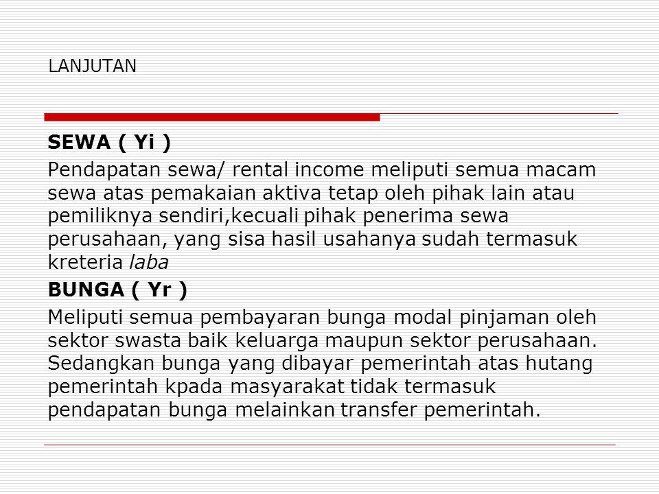 LANJUTAN SEWA ( Yi ) Pendapatan sewa/ rental income meliputi semua macam sewa atas pemakaian aktiva tetap oleh pihak lain atau pemiliknya sendiri,kecu