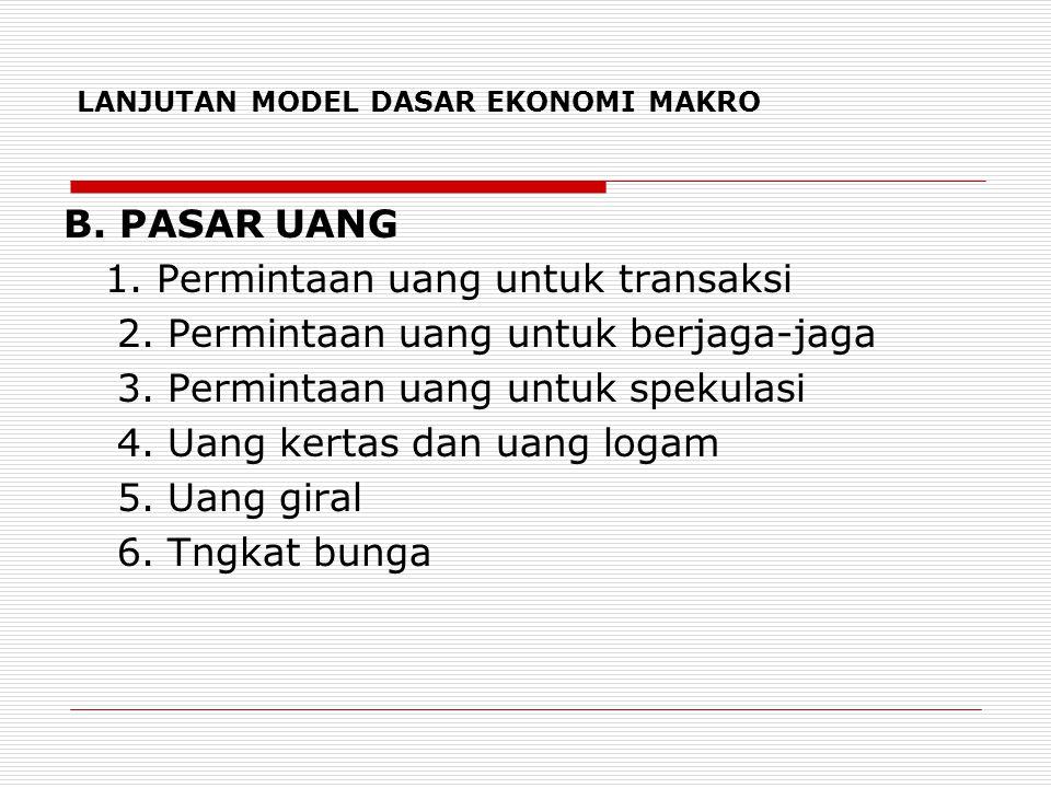 LANJUTAN MODEL DASAR EKONOMI MAKRO B. PASAR UANG 1. Permintaan uang untuk transaksi 2. Permintaan uang untuk berjaga-jaga 3. Permintaan uang untuk spe