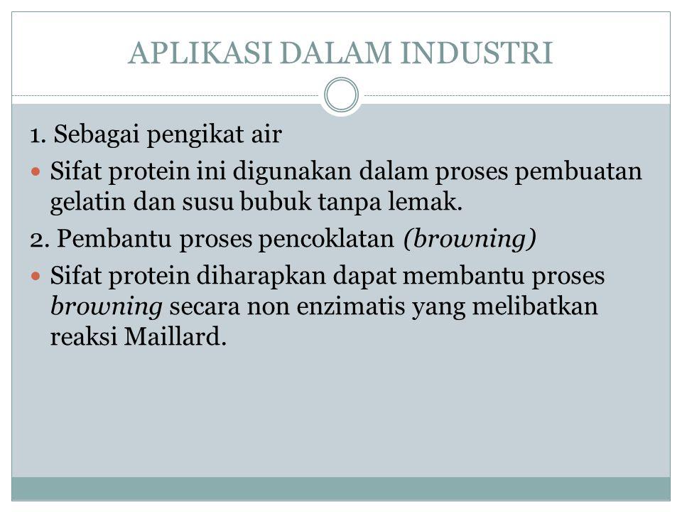 APLIKASI DALAM INDUSTRI 1. Sebagai pengikat air Sifat protein ini digunakan dalam proses pembuatan gelatin dan susu bubuk tanpa lemak. 2. Pembantu pro
