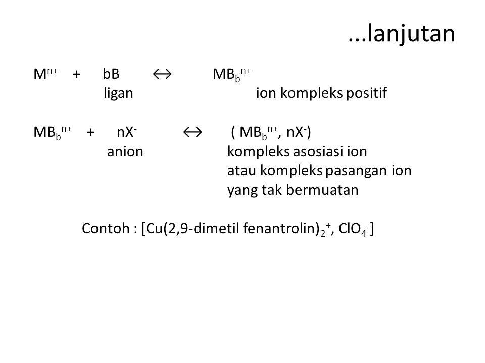 ...lanjutan M n+ + bB ↔ MB b n+ ligan ion kompleks positif MB b n+ + nX - ↔ ( MB b n+, nX - ) anionkompleks asosiasi ion atau kompleks pasangan ion yang tak bermuatan Contoh : [Cu(2,9-dimetil fenantrolin) 2 +, ClO 4 - ]