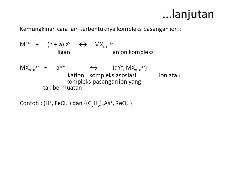...lanjutan Kemungkinan cara lain terbentuknya kompleks pasangan ion : M n+ + (n + a) X - ↔ MX n+a a- ligan anion kompleks MX n+a a- + aY + ↔ (aY +, MX n+a a- ) kationkompleks asosiasi ion atau kompleks pasangan ion yang tak bermuatan Contoh : (H +, FeCl 4 - ) dan {(C 6 H 5 ) 4 As +, ReO 4 - }