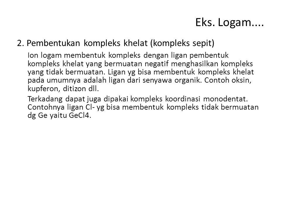 Eks. Logam.... 2. Pembentukan kompleks khelat (kompleks sepit) Ion logam membentuk kompleks dengan ligan pembentuk kompleks khelat yang bermuatan nega