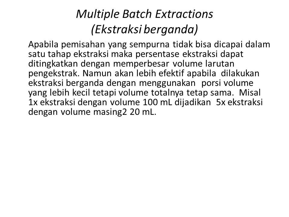 Multiple Batch Extractions (Ekstraksi berganda) Apabila pemisahan yang sempurna tidak bisa dicapai dalam satu tahap ekstraksi maka persentase ekstraksi dapat ditingkatkan dengan memperbesar volume larutan pengekstrak.