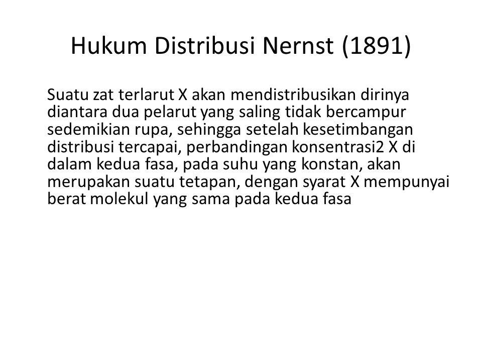 Hukum Distribusi Nernst (1891) Suatu zat terlarut X akan mendistribusikan dirinya diantara dua pelarut yang saling tidak bercampur sedemikian rupa, se