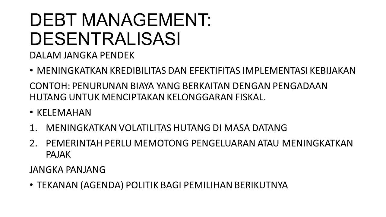 DEBT MANAGEMENT: DESENTRALISASI DALAM JANGKA PENDEK MENINGKATKAN KREDIBILITAS DAN EFEKTIFITAS IMPLEMENTASI KEBIJAKAN CONTOH: PENURUNAN BIAYA YANG BERK