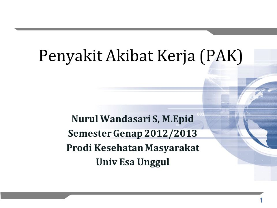 1 Penyakit Akibat Kerja (PAK) Nurul Wandasari S, M.Epid Semester Genap 2012/2013 Prodi Kesehatan Masyarakat Univ Esa Unggul