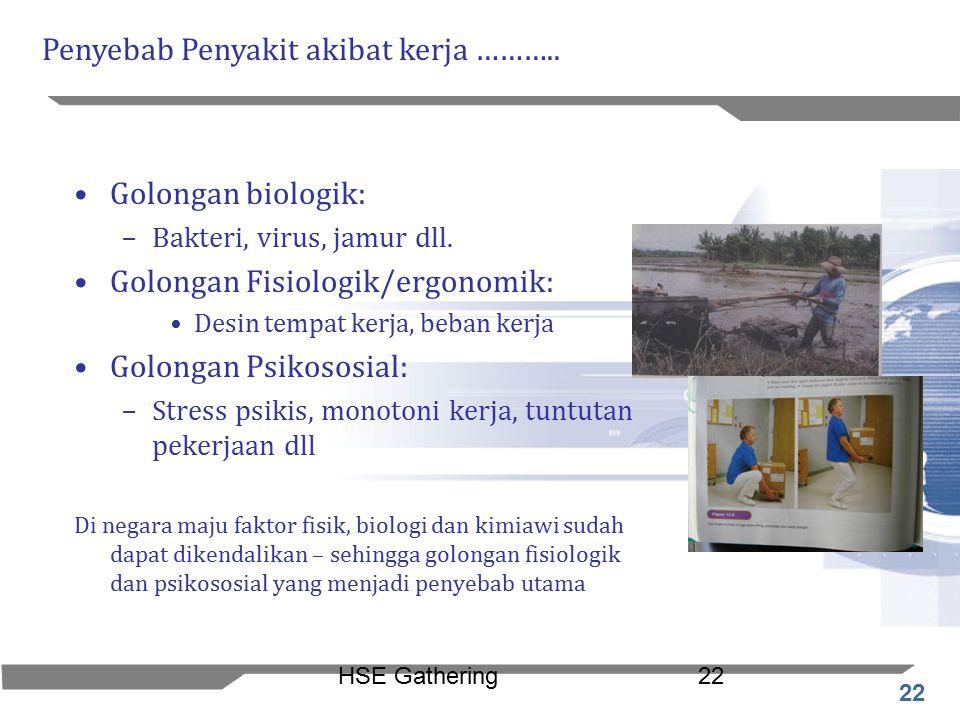 22 HSE Gathering22 Golongan biologik: –Bakteri, virus, jamur dll. Golongan Fisiologik/ergonomik: Desin tempat kerja, beban kerja Golongan Psikososial: