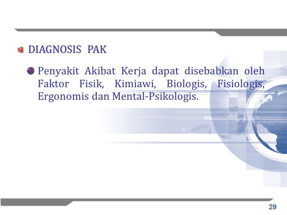29 Penyakit Akibat Kerja dapat disebabkan oleh Faktor Fisik, Kimiawi, Biologis, Fisiologis, Ergonomis dan Mental-Psikologis. DIAGNOSIS PAK