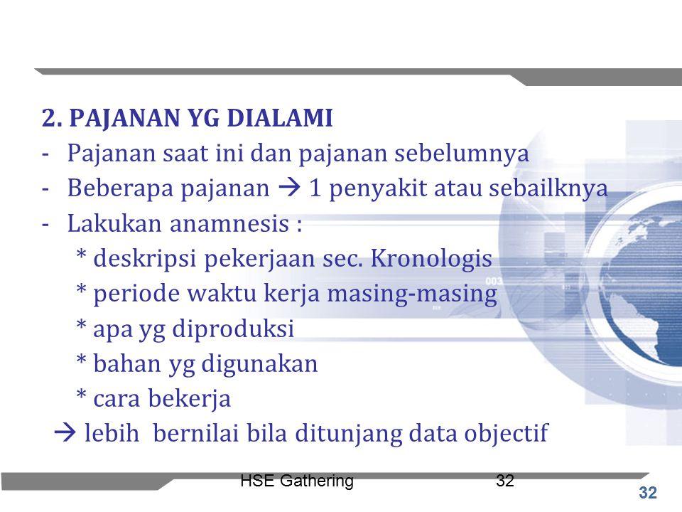 32 HSE Gathering32 2. PAJANAN YG DIALAMI -Pajanan saat ini dan pajanan sebelumnya -Beberapa pajanan  1 penyakit atau sebailknya -Lakukan anamnesis :