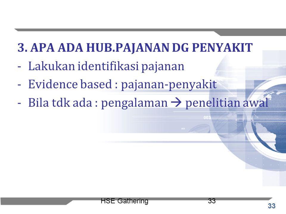 33 HSE Gathering33 3. APA ADA HUB.PAJANAN DG PENYAKIT -Lakukan identifikasi pajanan -Evidence based : pajanan-penyakit -Bila tdk ada : pengalaman  pe