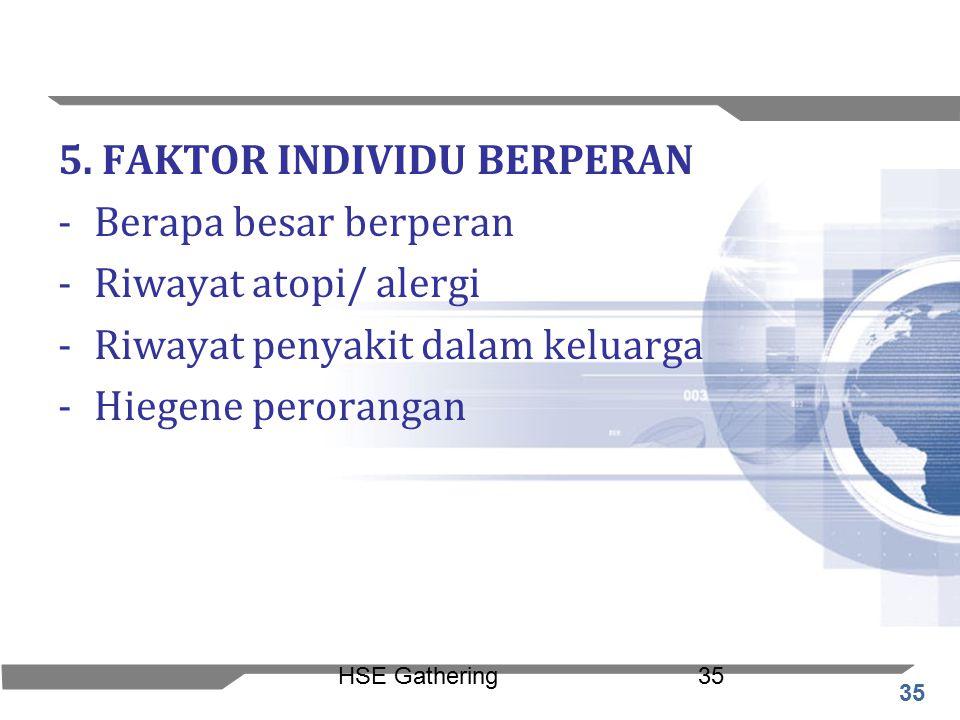 35 HSE Gathering35 5. FAKTOR INDIVIDU BERPERAN -Berapa besar berperan -Riwayat atopi/ alergi -Riwayat penyakit dalam keluarga -Hiegene perorangan