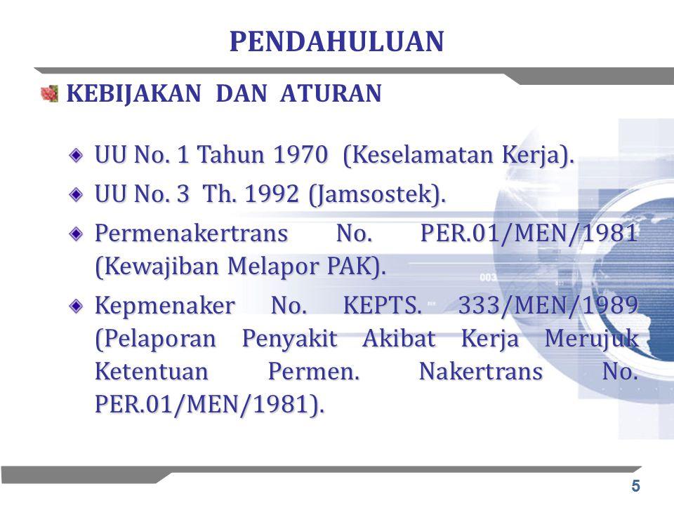 5 PENDAHULUAN KEBIJAKAN DAN ATURAN UU No. 1 Tahun 1970 (Keselamatan Kerja). UU No. 3 Th. 1992 (Jamsostek). Permenakertrans No. PER.01/MEN/1981 (Kewaji