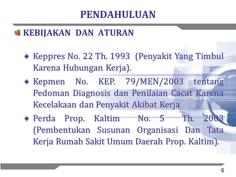 6 PENDAHULUAN KEBIJAKAN DAN ATURAN Keppres No. 22 Th. 1993 (Penyakit Yang Timbul Karena Hubungan Kerja). Kepmen No. KEP. 79/MEN/2003 tentang Pedoman D