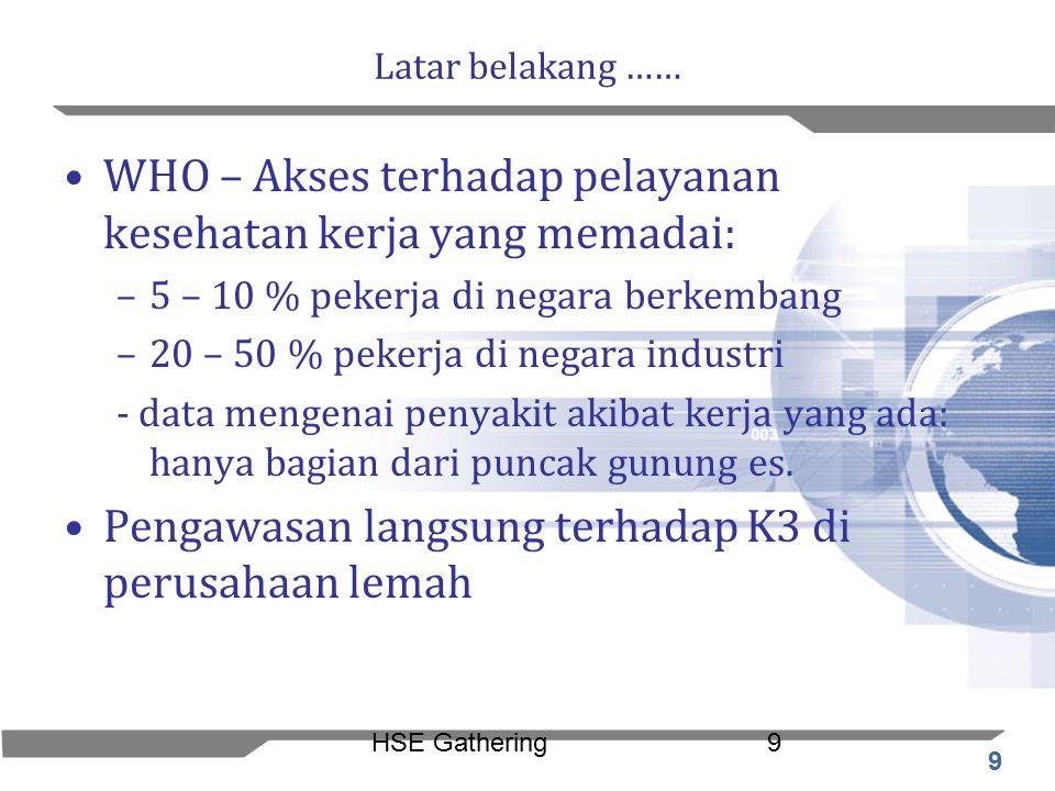 9 HSE Gathering9 Latar belakang …… WHO – Akses terhadap pelayanan kesehatan kerja yang memadai: –5 – 10 % pekerja di negara berkembang –20 – 50 % peke