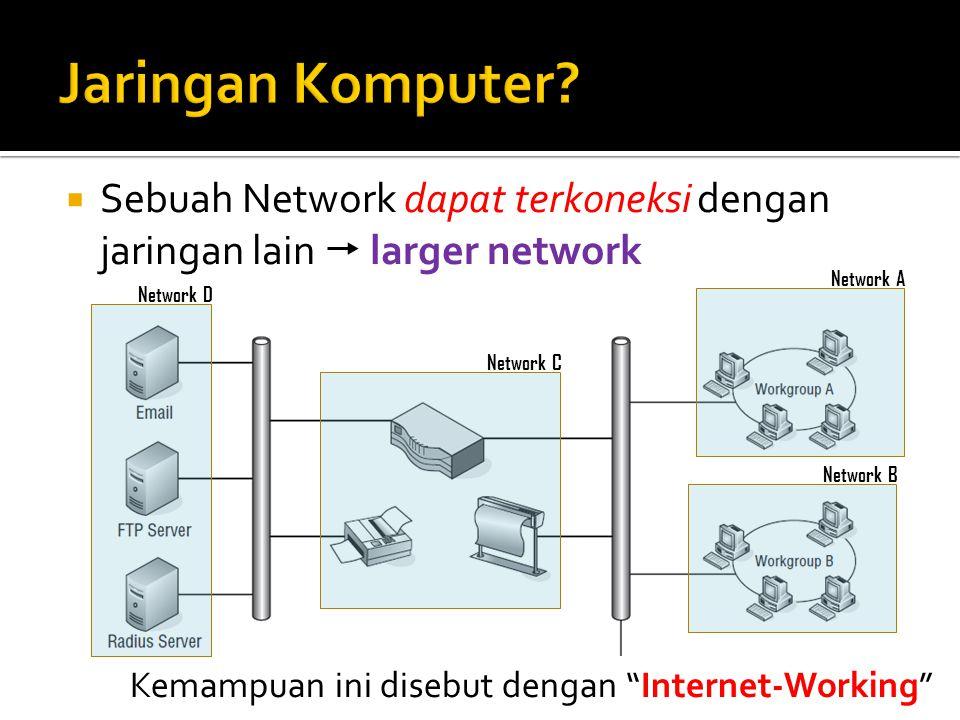 """ Sebuah Network dapat terkoneksi dengan jaringan lain  larger network Network A Network B Network C Network D Kemampuan ini disebut dengan """"Internet"""
