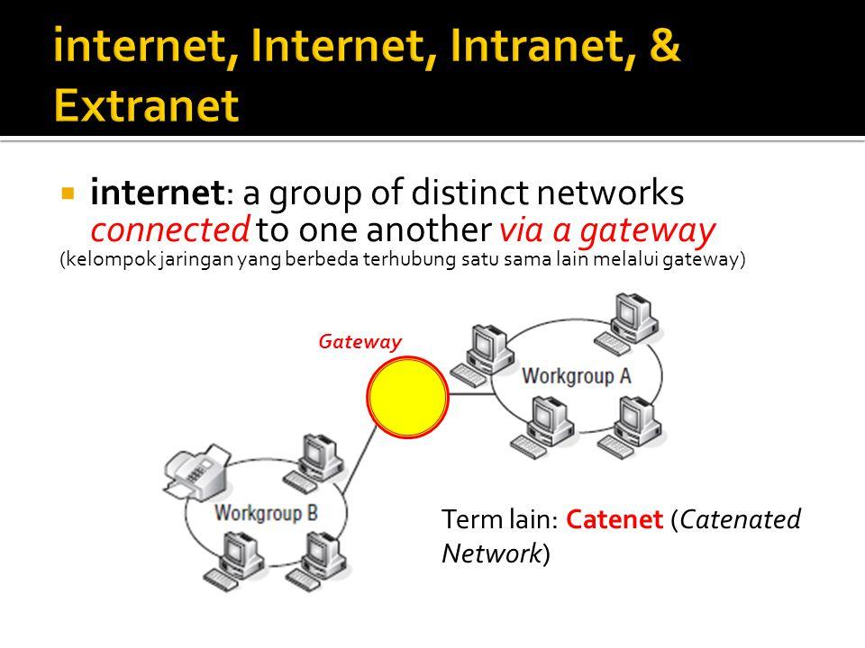  internet: a group of distinct networks connected to one another via a gateway (kelompok jaringan yang berbeda terhubung satu sama lain melalui gatew