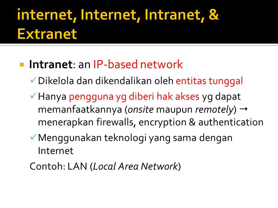  Intranet: an IP-based network Dikelola dan dikendalikan oleh entitas tunggal Hanya pengguna yg diberi hak akses yg dapat memanfaatkannya (onsite mau