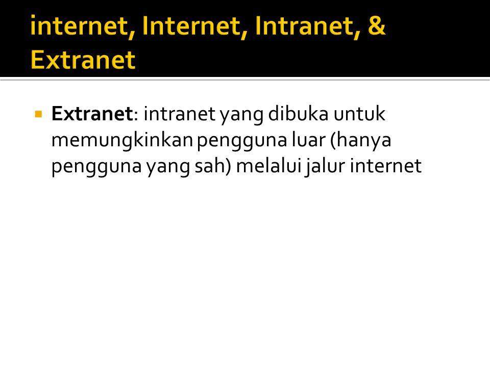  Extranet: intranet yang dibuka untuk memungkinkan pengguna luar (hanya pengguna yang sah) melalui jalur internet