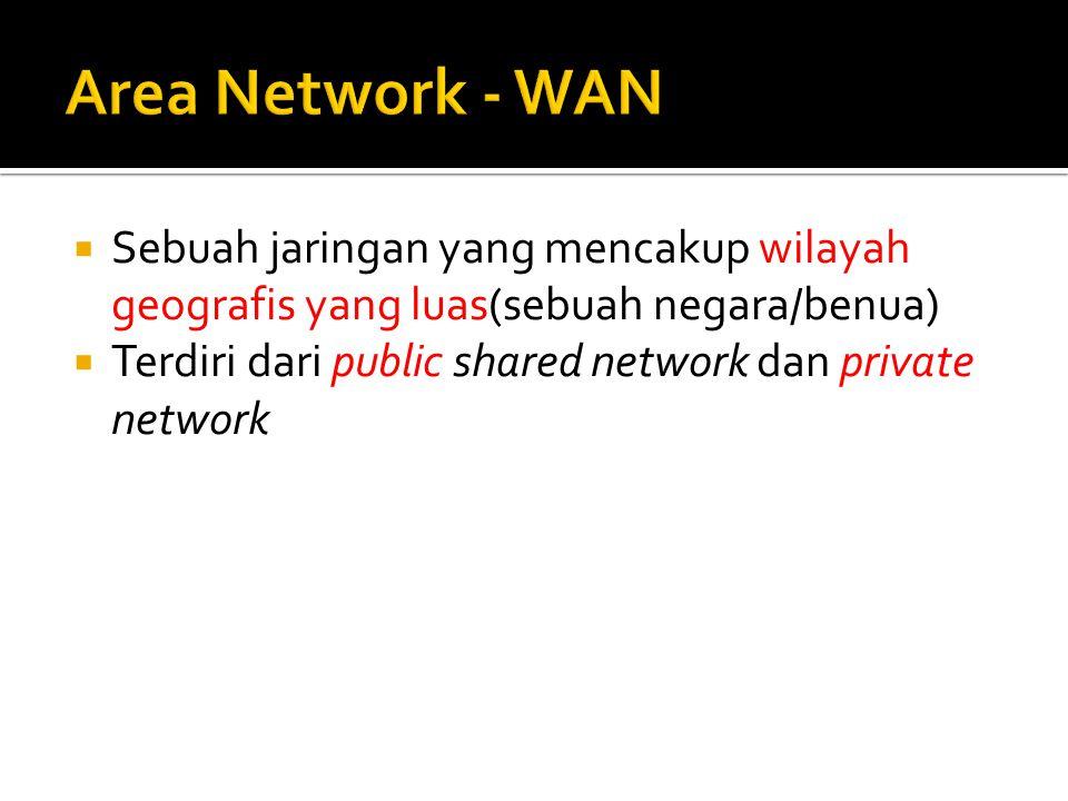 Sebuah jaringan yang mencakup wilayah geografis yang luas(sebuah negara/benua)  Terdiri dari public shared network dan private network
