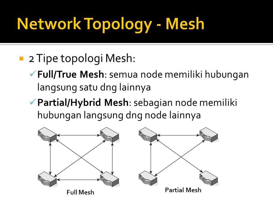  2 Tipe topologi Mesh: Full/True Mesh: semua node memiliki hubungan langsung satu dng lainnya Partial/Hybrid Mesh: sebagian node memiliki hubungan la