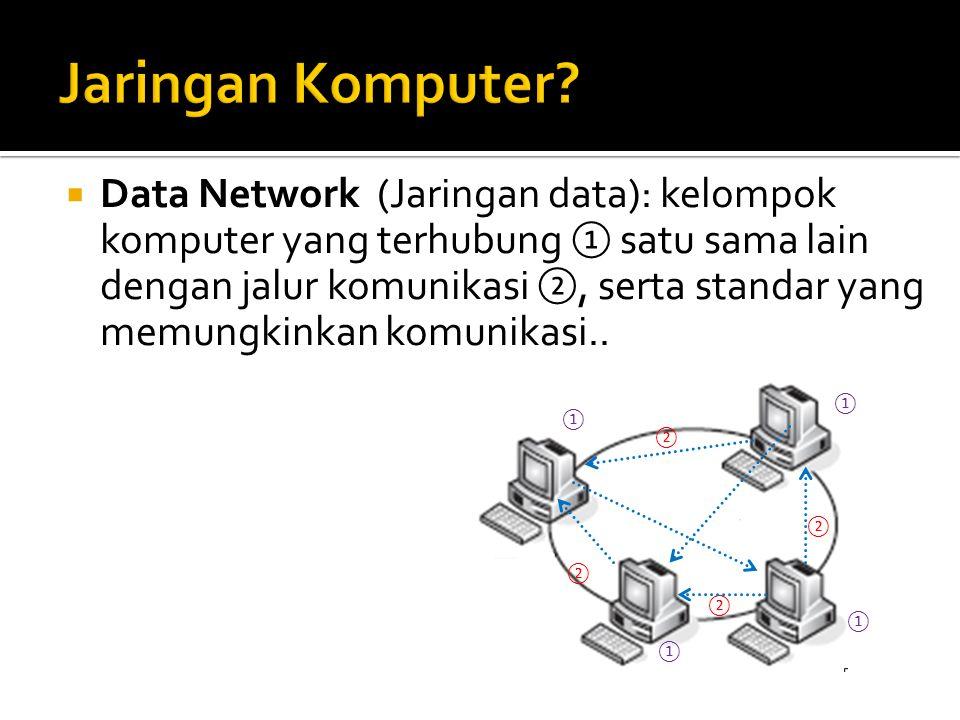 Data Network (Jaringan data): kelompok komputer yang terhubung ① satu sama lain dengan jalur komunikasi ②, serta standar yang memungkinkan komunikas