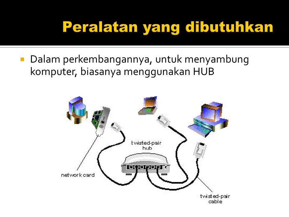  Dalam perkembangannya, untuk menyambung komputer, biasanya menggunakan HUB