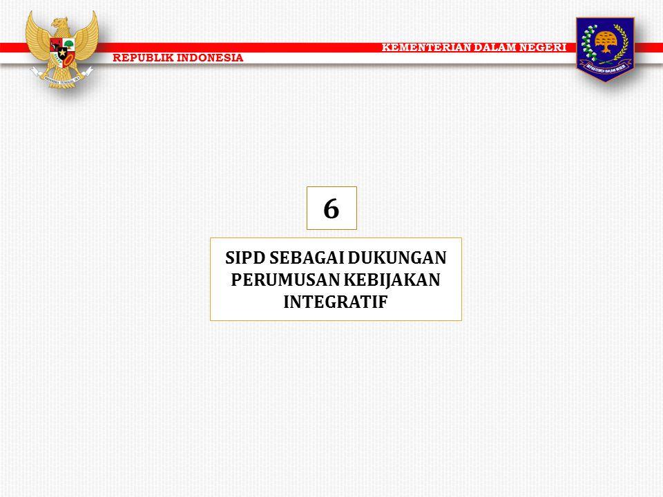 KEMENTERIAN DALAM NEGERI REPUBLIK INDONESIA SIPD SEBAGAI DUKUNGAN PERUMUSAN KEBIJAKAN INTEGRATIF 6