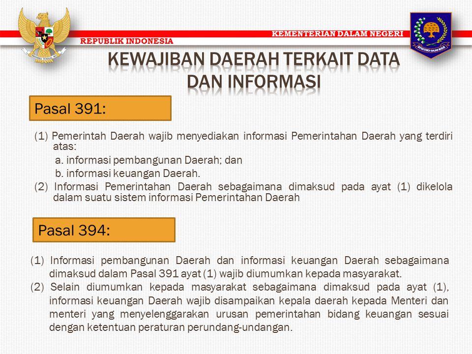 KEMENTERIAN DALAM NEGERI REPUBLIK INDONESIA Pasal 391: (1) Pemerintah Daerah wajib menyediakan informasi Pemerintahan Daerah yang terdiri atas: a. inf